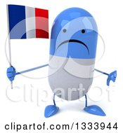 Clipart Of A 3d Unhappy Blue And White Pill Character Giving A Thumb Down And Holding A French Flag Royalty Free Illustration