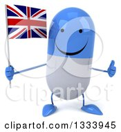 Clipart Of A 3d Happy Blue And White Pill Character Giving A Thumb Up And Holding A British Union Jack Flag Royalty Free Illustration