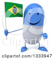 Clipart Of A 3d Happy Blue And White Pill Character Holding And Pointing To A Brazilian Flag Royalty Free Illustration