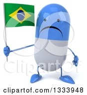 Clipart Of A 3d Unhappy Blue And White Pill Character Holding A Brazilian Flag Royalty Free Illustration