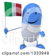 Clipart Of A 3d Happy Blue And White Pill Character Holding And Pointing To An Italian Flag Royalty Free Illustration