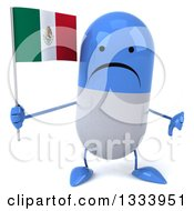 Clipart Of A 3d Unhappy Blue And White Pill Character Giving A Thumb Down And Holding A Mexican Flag Royalty Free Illustration