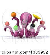 Clipart Of A 3d Happy Purple Octopus Holding Fruit Royalty Free Illustration