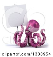 Clipart Of A 3d Happy Purple Octopus Holding And Pointing To A Blank Sign Royalty Free Illustration by Julos
