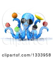 Clipart Of A 3d Happy Blue Octopus Wearing Sunglasses And Holding Fruit Royalty Free Illustration by Julos