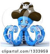 Clipart Of A 3d Happy Blue Pirate Octopus Royalty Free Illustration