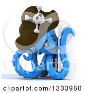Clipart Of A 3d Happy Blue Pirate Octopus Looking Around A Sign Royalty Free Illustration