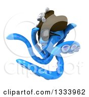 Clipart Of A 3d Happy Blue Pirate Octopus Wearing Sunglasses And Twisting Royalty Free Illustration
