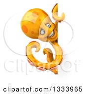 Clipart Of A 3d Orange Octopus Looking Around A Sign Royalty Free Illustration
