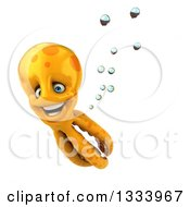 Clipart Of A 3d Orange Octopus Smiling And Swimming Royalty Free Illustration