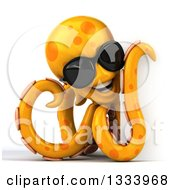 Clipart Of A 3d Orange Octopus Wearing Sunglasses By A Sign Royalty Free Illustration