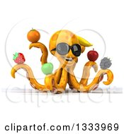 Clipart Of A 3d Orange Octopus Wearing Sunglasess Facing Slightly Right And Holding Fruit Royalty Free Illustration