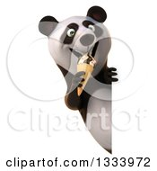 Clipart Of A 3d Happy Panda Eating A Waffle Ice Cream Cone Around A Sign Royalty Free Illustration