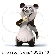 Clipart Of A 3d Happy Panda Eating A Waffle Ice Cream Cone Royalty Free Illustration