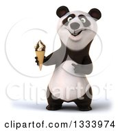 Clipart Of A 3d Happy Panda Holding And Pointing To A Waffle Ice Cream Cone Royalty Free Illustration