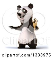 Clipart Of A 3d Happy Panda Holding A Waffle Ice Cream Cone And Pointing To The Left Royalty Free Illustration