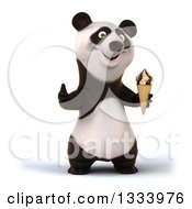 Clipart Of A 3d Happy Panda Holding A Waffle Ice Cream Cone And Giving A Thumb Up Royalty Free Illustration