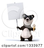 Clipart Of A 3d Happy Panda Wearing Sunglasses Holding A Waffle Ice Cream Cone And Blank Sign Royalty Free Illustration