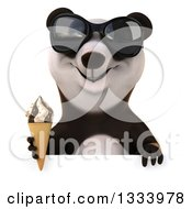 Clipart Of A 3d Happy Panda Wearing Sunglasses And Holding A Waffle Ice Cream Cone Over A Sign Royalty Free Illustration