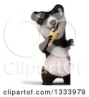 Clipart Of A 3d Full Length Happy Panda Wearing Sunglasses And Eating A Waffle Ice Cream Cone Around A Sign Royalty Free Illustration