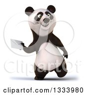 Clipart Of A 3d Happy Panda Walking And Holding An Envelope Royalty Free Illustration