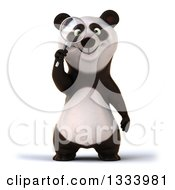Clipart Of A 3d Happy Panda Searching With A Magnifying Glass Royalty Free Illustration by Julos