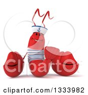 Clipart Of A 3d Sailor Lobster Royalty Free Illustration
