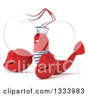 Clipart Of A 3d Sailor Lobster Facing Left And Presenting Royalty Free Illustration