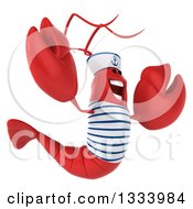 Clipart Of A 3d Sailor Lobster Facing Right And Jumping Royalty Free Illustration