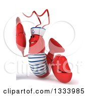 Clipart Of A 3d Sailor Lobster Facing Left By A Sign Royalty Free Illustration