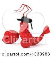 Clipart Of A 3d Happy Breton Lobster Facing Left And Presenting Royalty Free Illustration by Julos