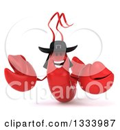 Clipart Of A 3d Happy Welcoming Breton Lobster Royalty Free Illustration by Julos