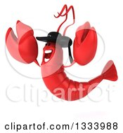 Clipart Of A 3d Happy Breton Lobster Facing Left And Jumping Royalty Free Illustration by Julos