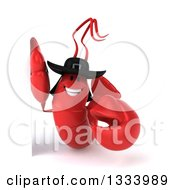 Clipart Of A 3d Happy Breton Lobster By A Sign Royalty Free Illustration by Julos