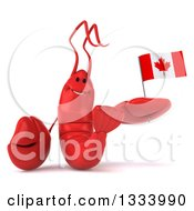 Clipart Of A 3d Happy Red Lobster Holding A Canadian Flag Royalty Free Illustration