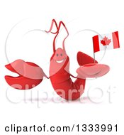 Clipart Of A 3d Happy Red Lobster Presenting And Holding A Canadian Flag Royalty Free Illustration