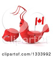 Clipart Of A 3d Sad Red Lobster Facing Left Presenting And Holding A Canadian Flag Royalty Free Illustration