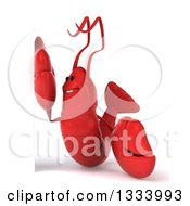 Clipart Of A 3d Happy Lobster Facing Left By A Sign Royalty Free Illustration by Julos