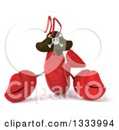 Clipart Of A 3d Sad Pirate Lobster Royalty Free Illustration