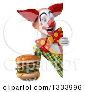 Clipart Of A 3d Funky Clown Holding A Double Cheeseburger And Looking Around A Sign Royalty Free Illustration