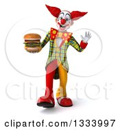 Clipart Of A 3d Funky Clown Walking Waving And Holding A Double Cheeseburger Royalty Free Illustration