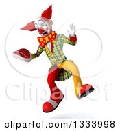 Clipart Of A 3d Funky Clown Jumping And Holding A Beef Steak Royalty Free Illustration
