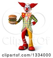 Clipart Of A 3d Funky Clown Holding A Double Cheeseburger Royalty Free Illustration