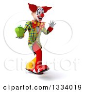 Clipart Of A 3d Funky Clown Walking To The Right Waving And Holding A Green Bell Pepper Royalty Free Illustration