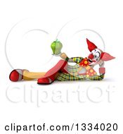 Clipart Of A 3d Funky Clown Resting On His Side And Holding A Green Bell Pepper Royalty Free Illustration
