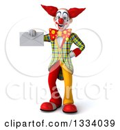 Clipart Of A 3d Funky Clown Holding An Envelope Royalty Free Illustration