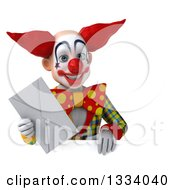 Clipart Of A 3d Funky Clown Holding An Envelope Over A Sign Royalty Free Illustration