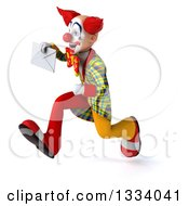 Clipart Of A 3d Funky Clown Sprinting To The Left And Holding An Envelope Royalty Free Illustration