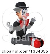 Clipart Of A 3d White And Black Clown Facing Slightly Right And Meditating Royalty Free Illustration