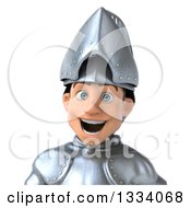 Clipart Of A 3d Avatar Of An Excited Caucasian Male Armored Knight Royalty Free Illustration